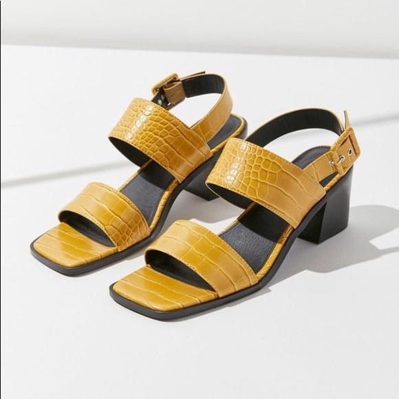 8341d36b30 Shoes   24hr Sale Square Toe Mustard Block Heel Sandals   Poshmark